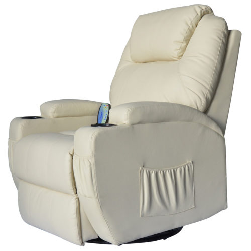HomCom+Deluxe+Heated+Vibrating+PU+Leather+Massage+Recliner+Chair+-+Cream