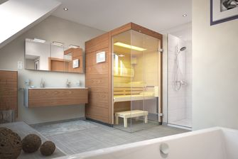 complete home spa sauna in bathroom